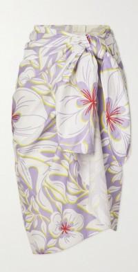 Floral-print cotton-voile pareo