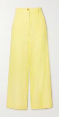 Jane cropped cutout linen-blend wide-leg pants