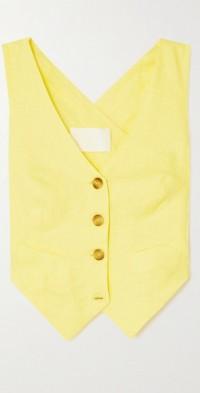 Johnny cropped linen-blend vest