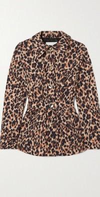 Leopard-print cotton-blend jacket