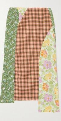 + NET SUSTAIN Grimes asymmetric patchwork cotton midi skirt