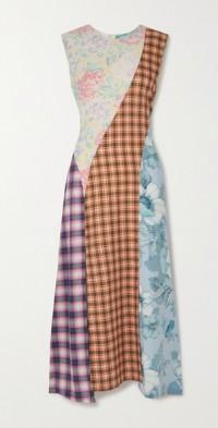 + NET SUSTAIN Iggy asymmetric patchwork cotton midi dress