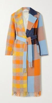 + NET SUSTAIN Lola belted fringed patchwork wool coat