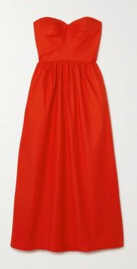 + NET SUSTAIN Buckley strapless lace-up organic cotton-blend poplin dress