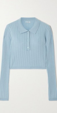 Clancey cropped ribbed recycled cashmere polo sweater