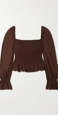 Darby shirred stretch organic cotton-poplin top