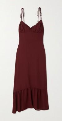 Embry ruffled shirred georgette midi dress