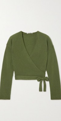 Relaxed recycled cashmere-blend wrap top