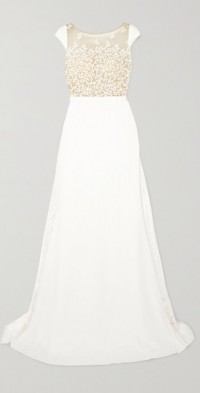 Alvin embroidered tulle and crepe gown