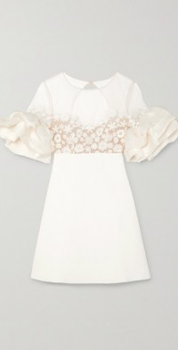 Astaire embroidered tulle, crepe and organza mini dress
