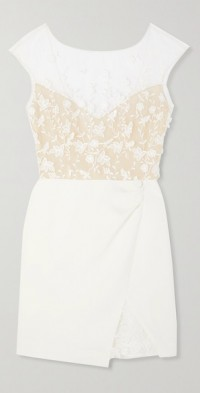 Eleonora embroidered tulle and crepe mini dress