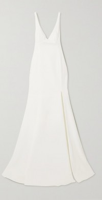 Enola tie-detailed open-back embroidered tulle and crepe gown
