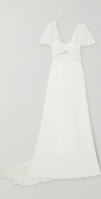 Kiss embroidered tulle and crepe gown