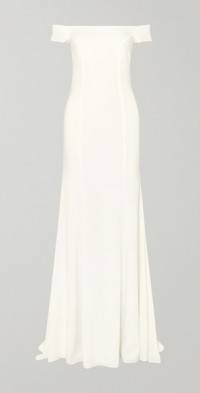 Louvre off-the-shoulder crepe gown