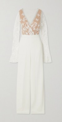 Poppy embroidered tulle and crepe jumpsuit