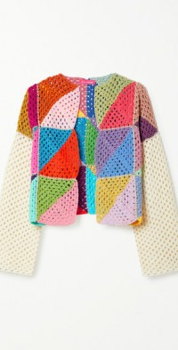 Cropped crocheted cotton and Lurex cardigan