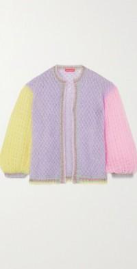 Metallic crocheted mohair-blend cardigan