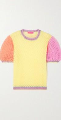 Metallic crocheted mohair-blend sweater