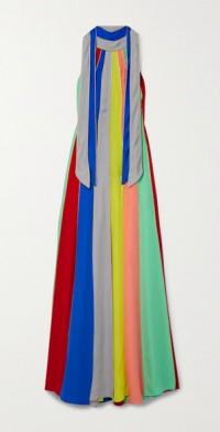 Car Wash striped silk-chiffon halterneck gown