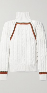 Convertible striped cable-knit wool-blend sweater