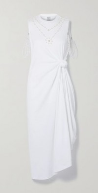 Faux pearl-embellished knotted cotton-jersey midi dress