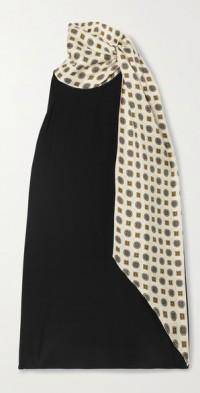 Joplin draped printed silk-twill and crepe top