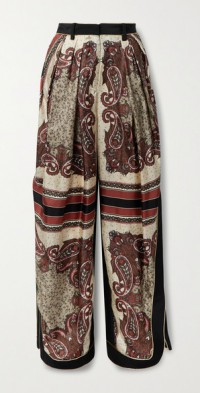 Piped pleated printed silk-twill tapered pants