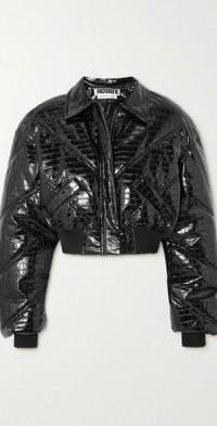 Rosa glossed croc-effect vegan leather bomber jacket