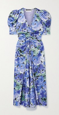 Sierina ruched floral-print recycled satin midi dress