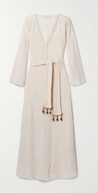 + NET SUSTAIN Amity embellished belted crinkled organic cotton-gauze wrap dress