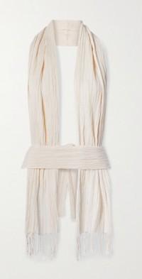 + NET SUSTAIN convertible crinkled organic cotton-gauze top