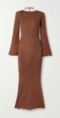 + NET SUSTAIN Harmony open-back silk and organic cotton-blend midi dress