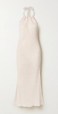 + NET SUSTAIN Jaya crinkled organic cotton-gauze halterneck midi dress