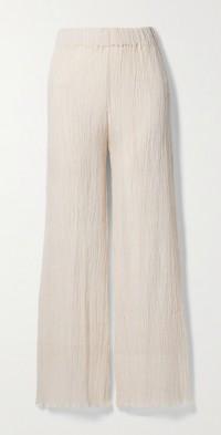 + NET SUSTAIN Naia crinkled organic cotton-gauze wide-leg pants