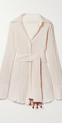 + NET SUSTAIN Ocean embellished belted crinkled organic cotton-gauze shirt