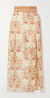 + NET SUSTAIN The Ahimsa printed silk-dupioni midi skirt
