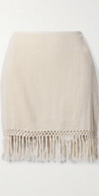 + NET SUSTAIN The Jasmine fringed macramé ramie mini skirt