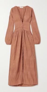 + NET SUSTAIN The Oasis crinkled organic cotton-gauze maxi dress