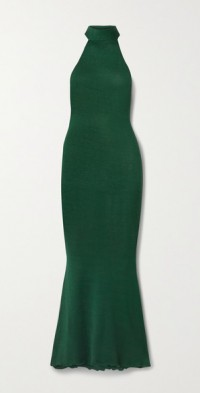 +NET SUSTAIN Eir silk and organic cotton-blend turtleneck maxi dress