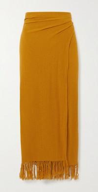 The Desert fringed ramie wrap midi skirt