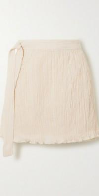 The Hayi crinkled organic cotton-gauze wrap mini skirt