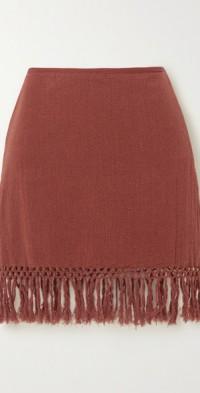 The Jasmine fringed macramé ramie mini skirt
