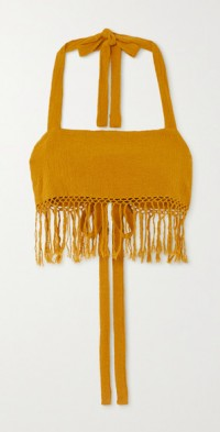 The May cropped fringed ramie halterneck top