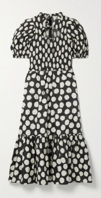 Arline ruffled shirred polka-dot cotton-poplin midi dress
