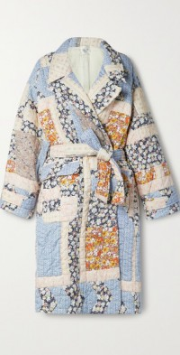 Sydney belted patchwork quilted cotton coat