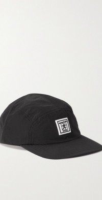 Appliquéd paneled nylon baseball cap