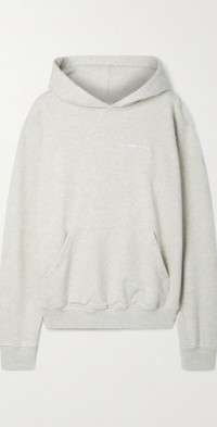 Embroidered cotton-blend jersey hoodie