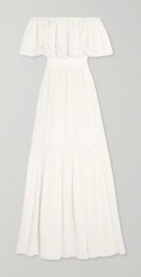 Felicity off-the-shoulder lace-trimmed silk crepe de chine gown
