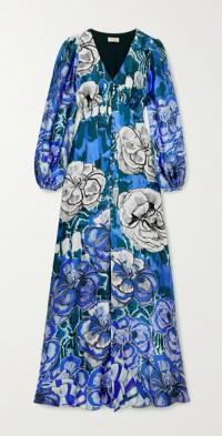 Missy floral-print hammered silk-satin maxi dress