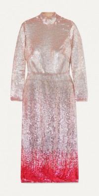 Opia open-back dégradé sequined crepe midi dress